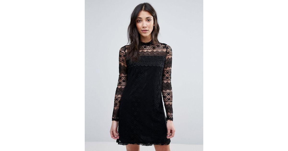 Lyst Vila High Neck Long Sleeve Dress In Black