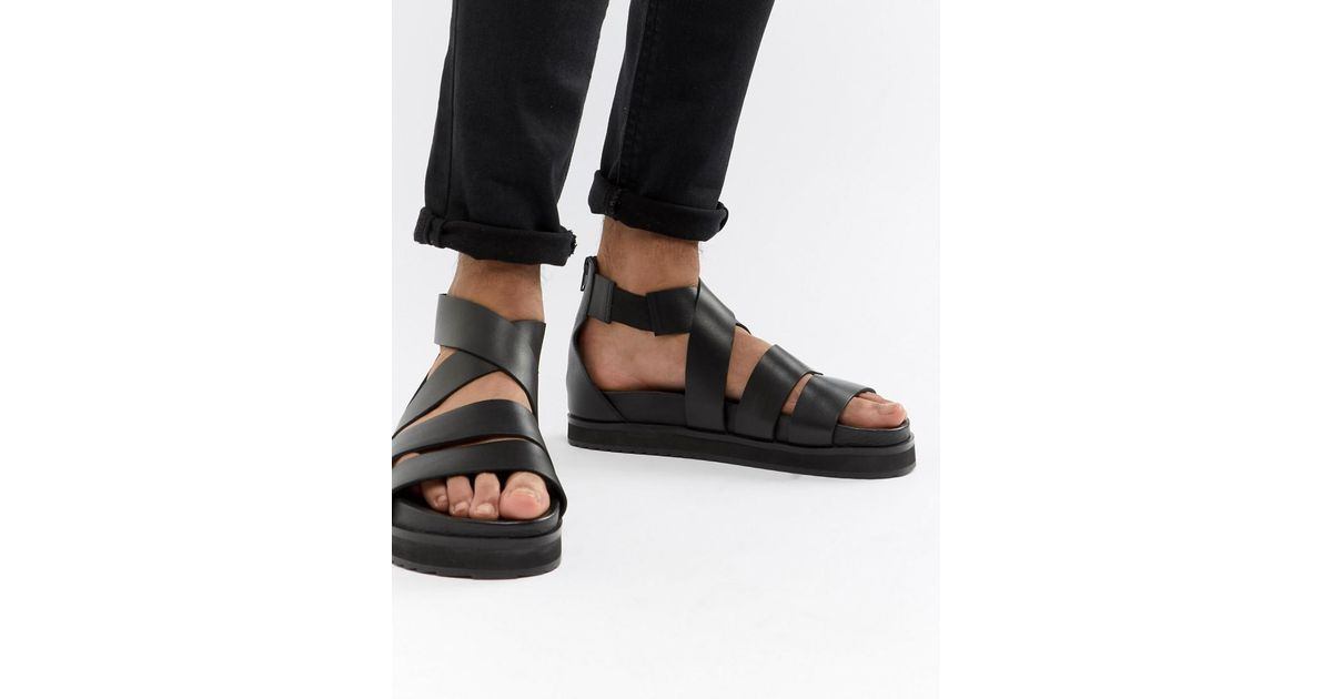 7a0c2613e9a ASOS Gladiator Sandals In Black Leather With Chunky Sole in Black for Men -  Lyst