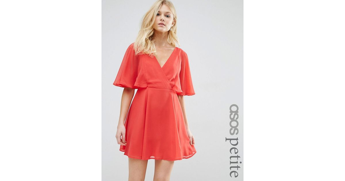 Asos wrap front mini dress with angel sleeve in red lyst