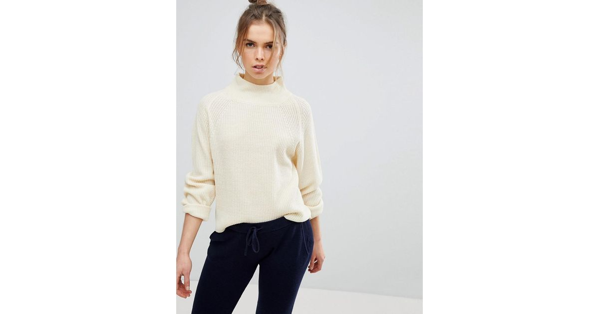 4245e743fb Micha Lounge High Neck Oversized Sweater in Natural - Lyst
