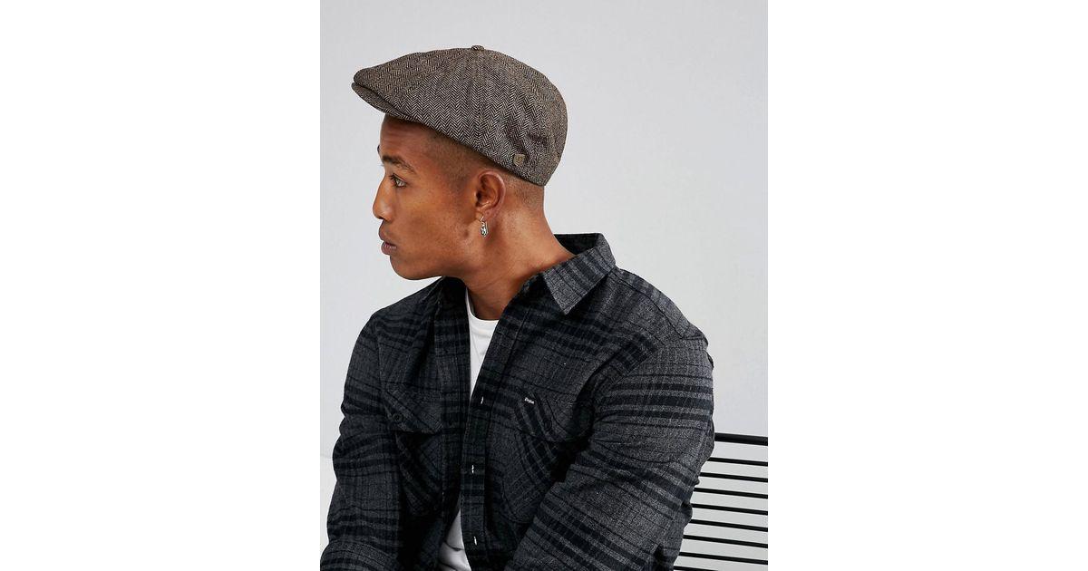 Lyst - Brixton Brood Flat Cap in Brown for Men 596d4dcc47f