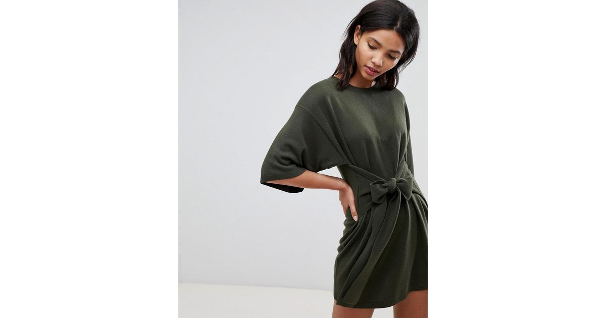 2987c8d719a74 Ted Baker Ted Says Relax Tie Front Knitted Tunic in Green - Lyst