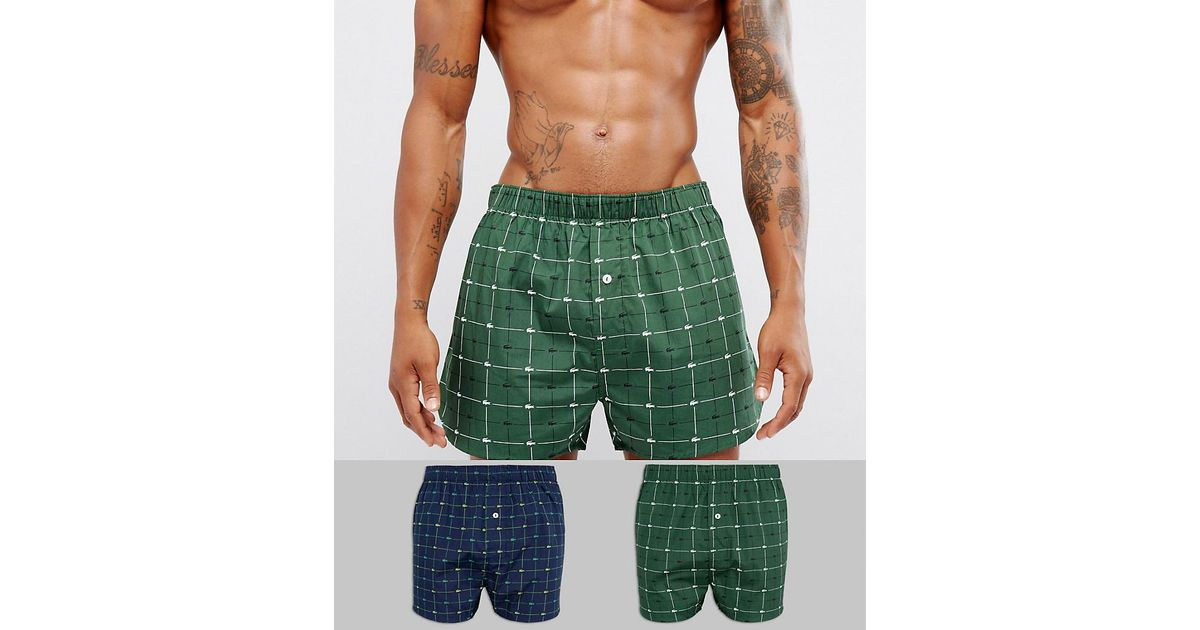 7a2c9423c Lacoste Woven Boxers 2 Pack With Signature Logo Print in Green for Men -  Lyst