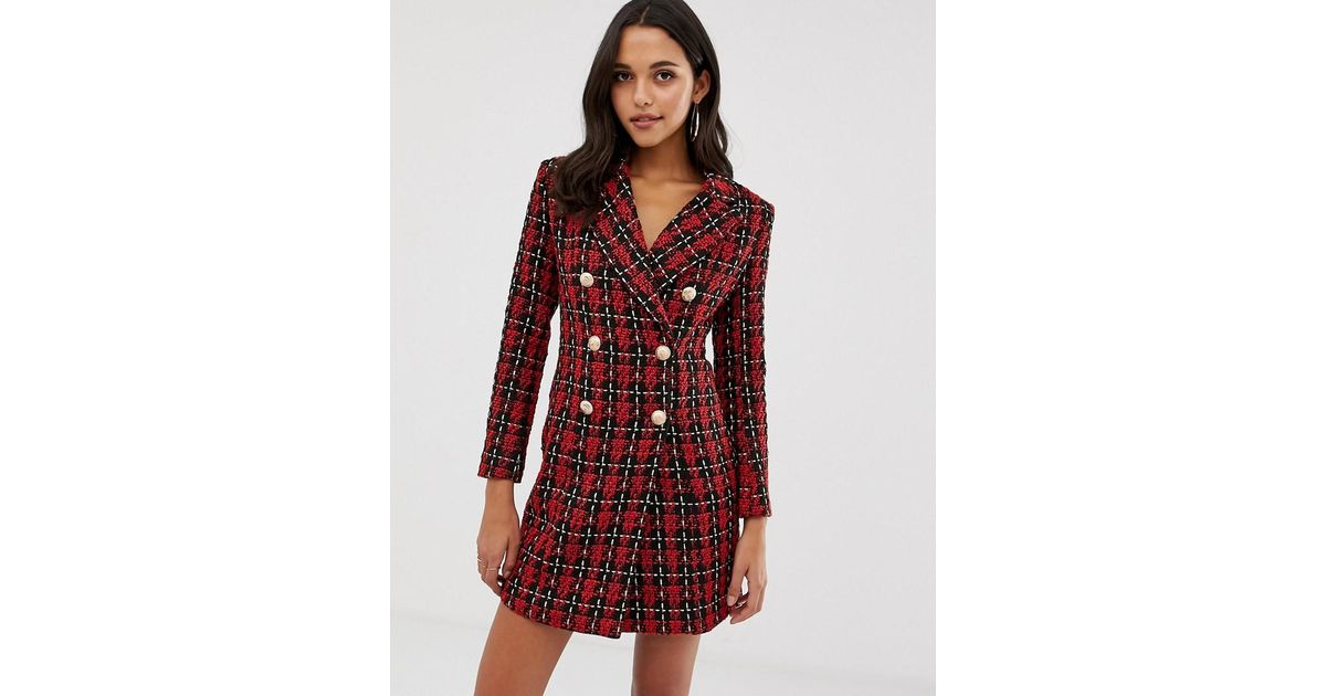bb029572ca43 Forever Unique Tweed Blazer Dress in Red - Lyst