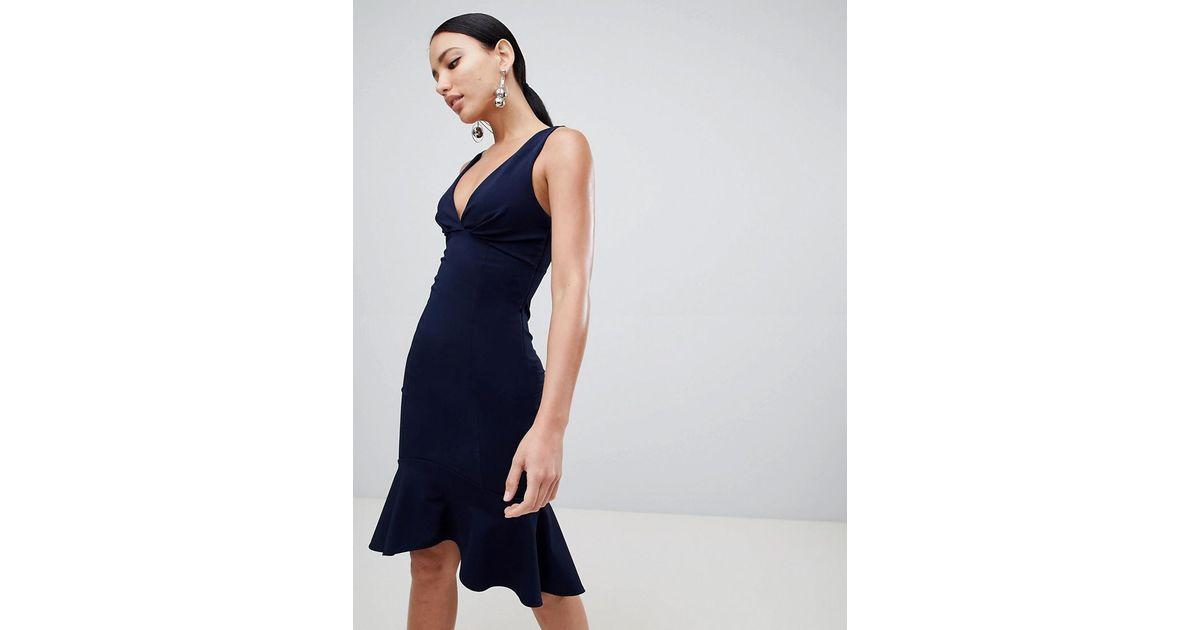 19f6085343 Lipsy Plunge Front Flippy Hem Midi Dress in Blue - Lyst