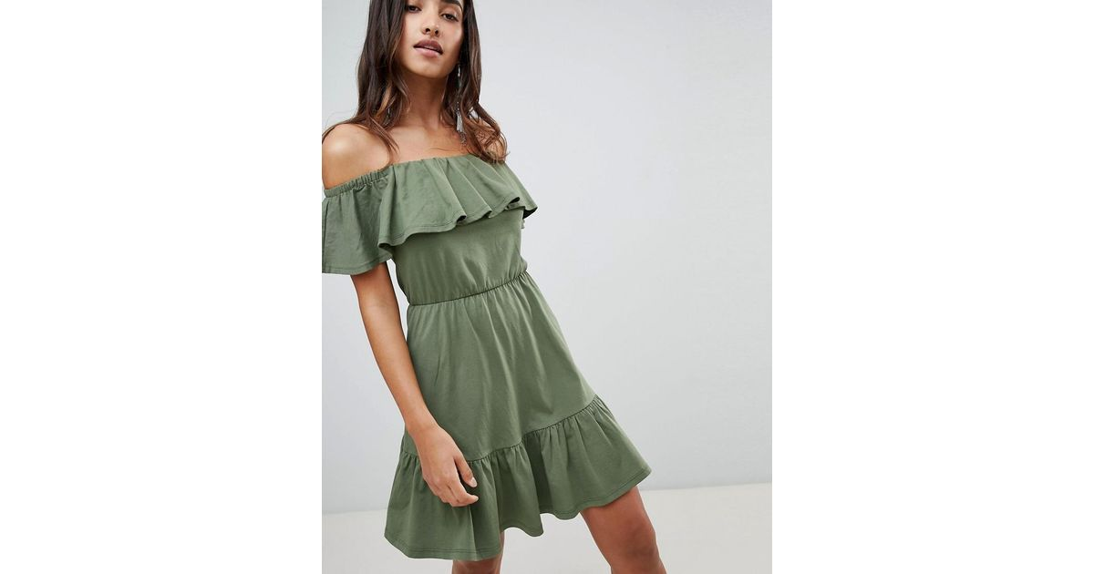 50eb45286b5 Lyst - ASOS Off Shoulder Sundress With Tiered Skirt in Green