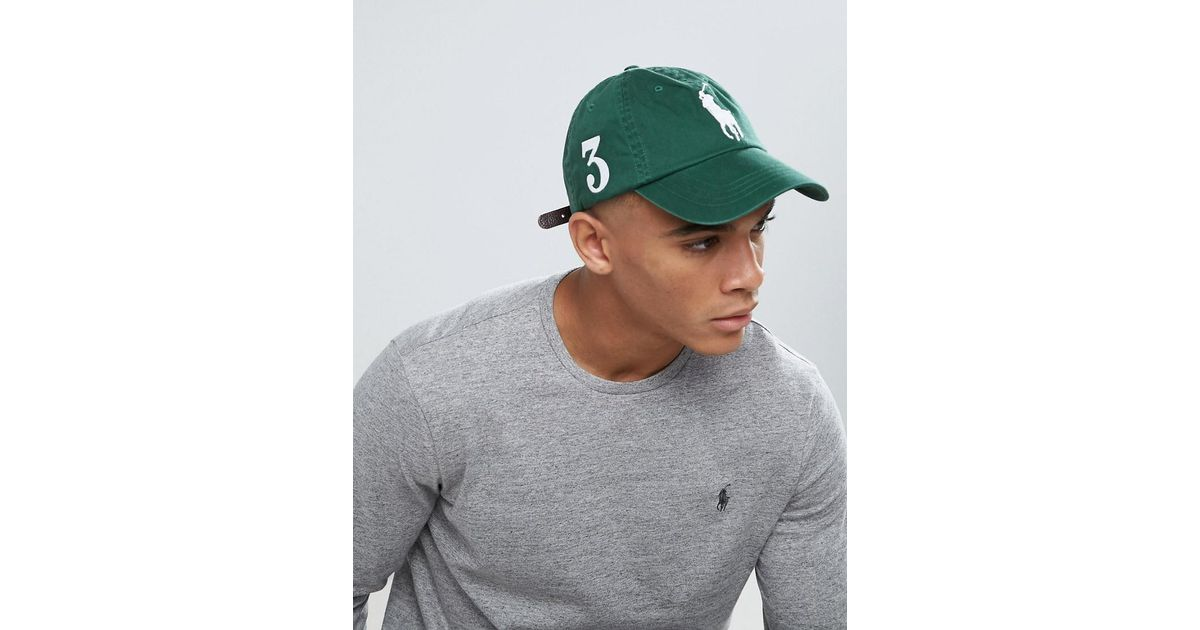 74b692b07 Polo Ralph Lauren Player Baseball Cap Large Polo Player In Dark Green in  Green for Men - Lyst