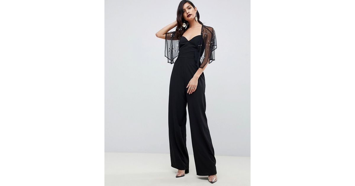 0b771b6de3b6 Lyst - ASOS Flutter Sleeve Jumpsuit With Wide Leg And Star Embellishment in  Black