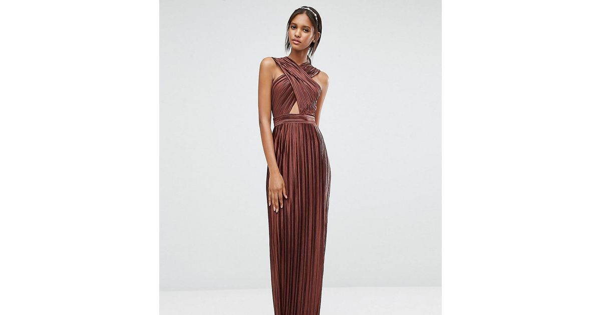 f8ec69b7923 True Decadence Allover Pleated Cross Front Open Back Maxi Dress in Brown -  Lyst