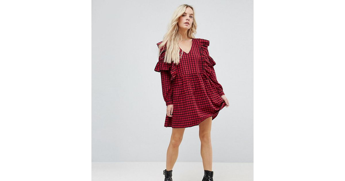 b2405374bedbd ASOS Ultimate Gingham Smock Mini Dress With Ruffles in Red - Lyst