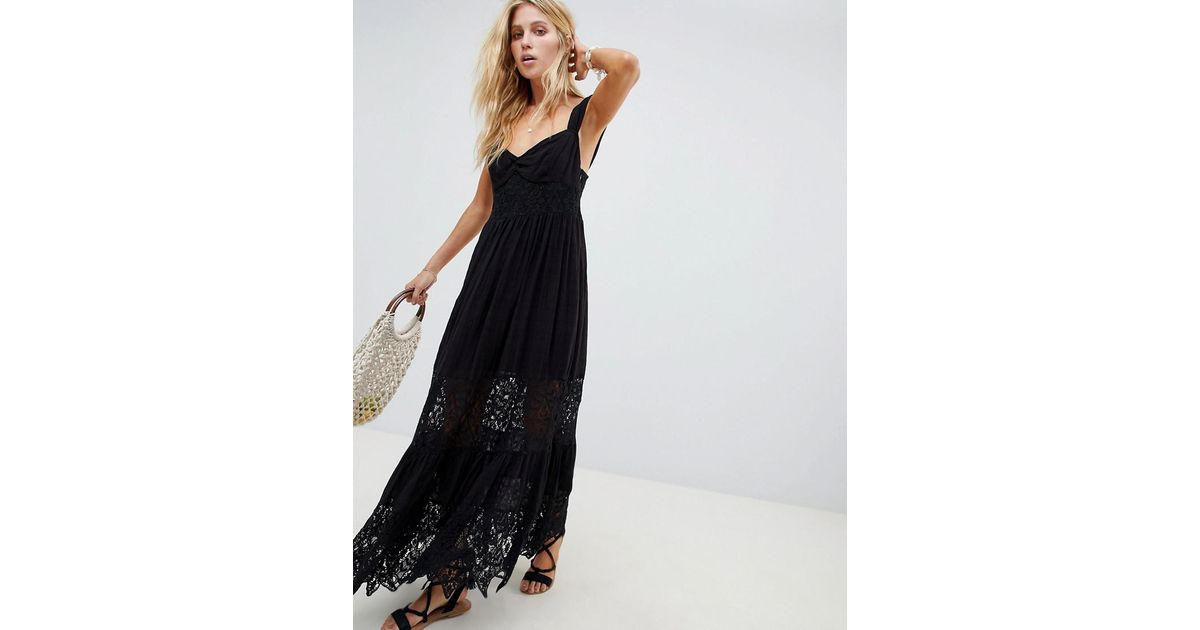 b448de83e5c3c Free People Caught Your Eye Tiered Lace Maxi Dress in Black - Lyst