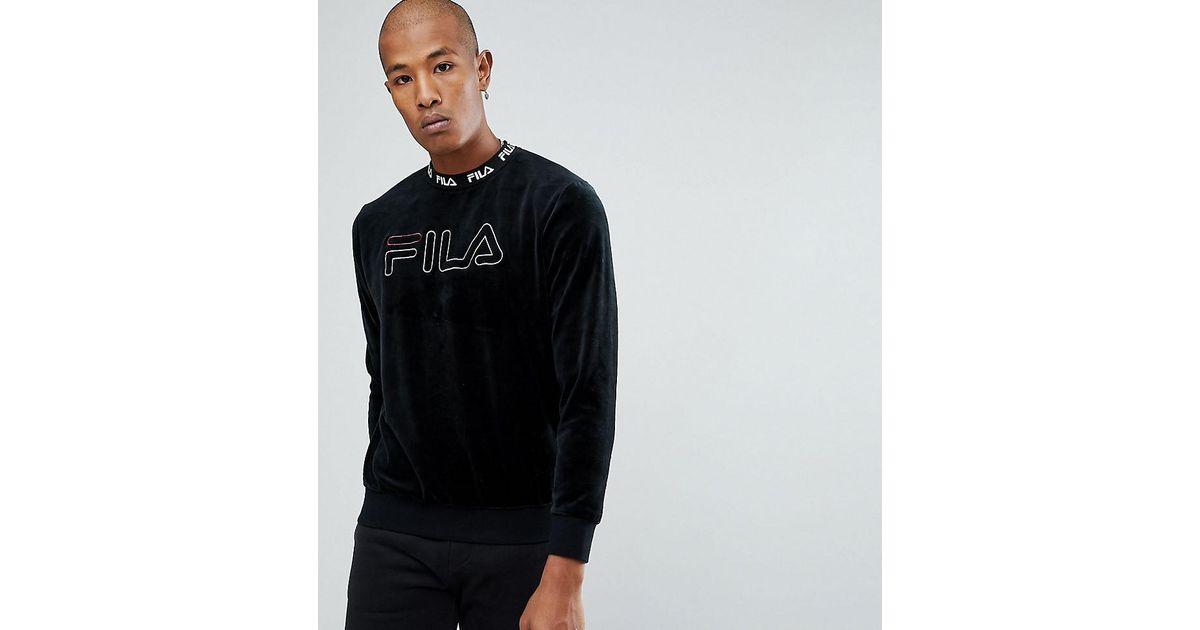 5da3774382c2 Lyst - Fila Black Line Velour Sweatshirt With Embroidered Logo in Black for  Men