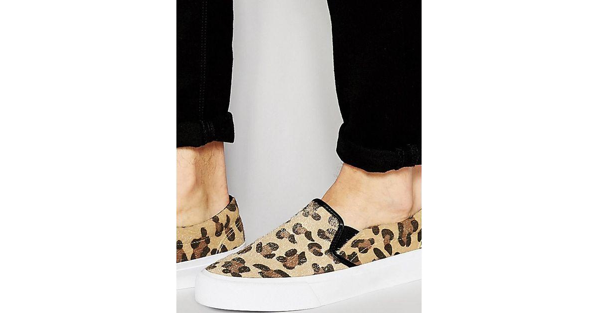c9361c9e8b72 ASOS Asos Slip On Sneakers In Leopard Print Animal Hair Look in Brown for  Men - Lyst