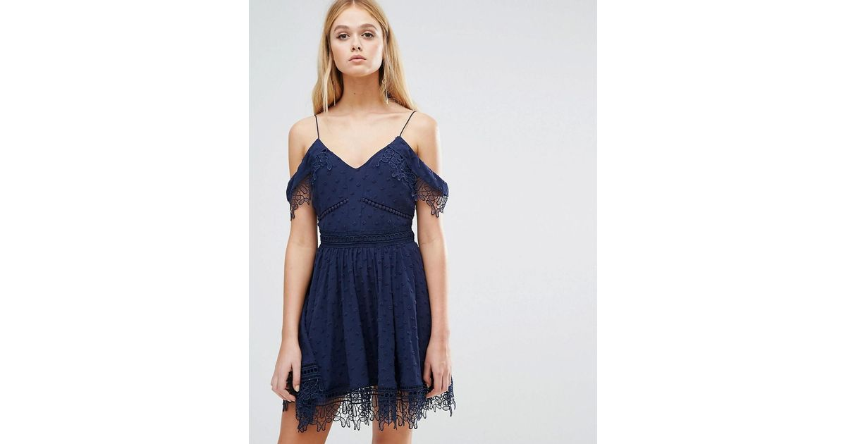 ba3af0bbd8e Whistles Issa Lace Cold Shoulder Dress in Blue - Lyst