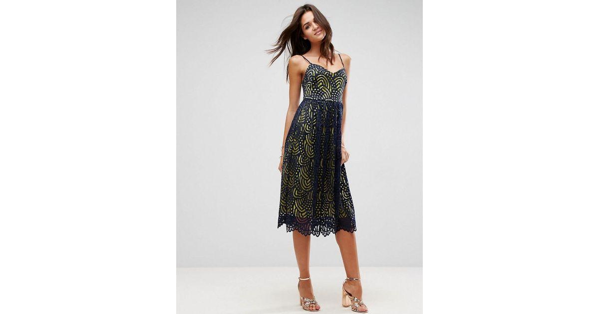 e48d95b455b Lyst - ASOS Asos Contrast Lace Cami Midi Prom Dress in Blue