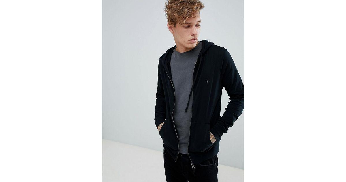 31024e91 AllSaints Zip Through Lightweight Hoodie In Black in Black for Men - Lyst
