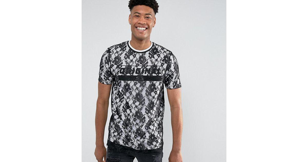 negro para de doble Longline Lyst en camiseta capa y hombres Long con texto impreso Asos encaje wRRO0n6Y