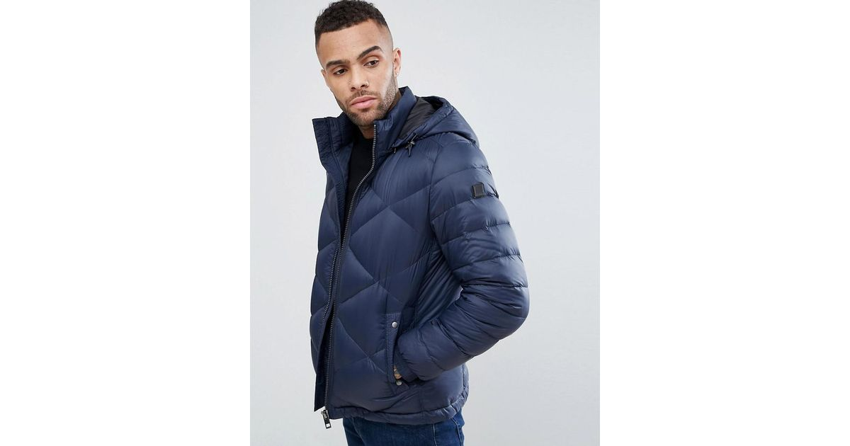 604416a09 BOSS By Hugo Boss Obaron Removable Hooded Padded Jacket In Navy in Blue for  Men - Lyst