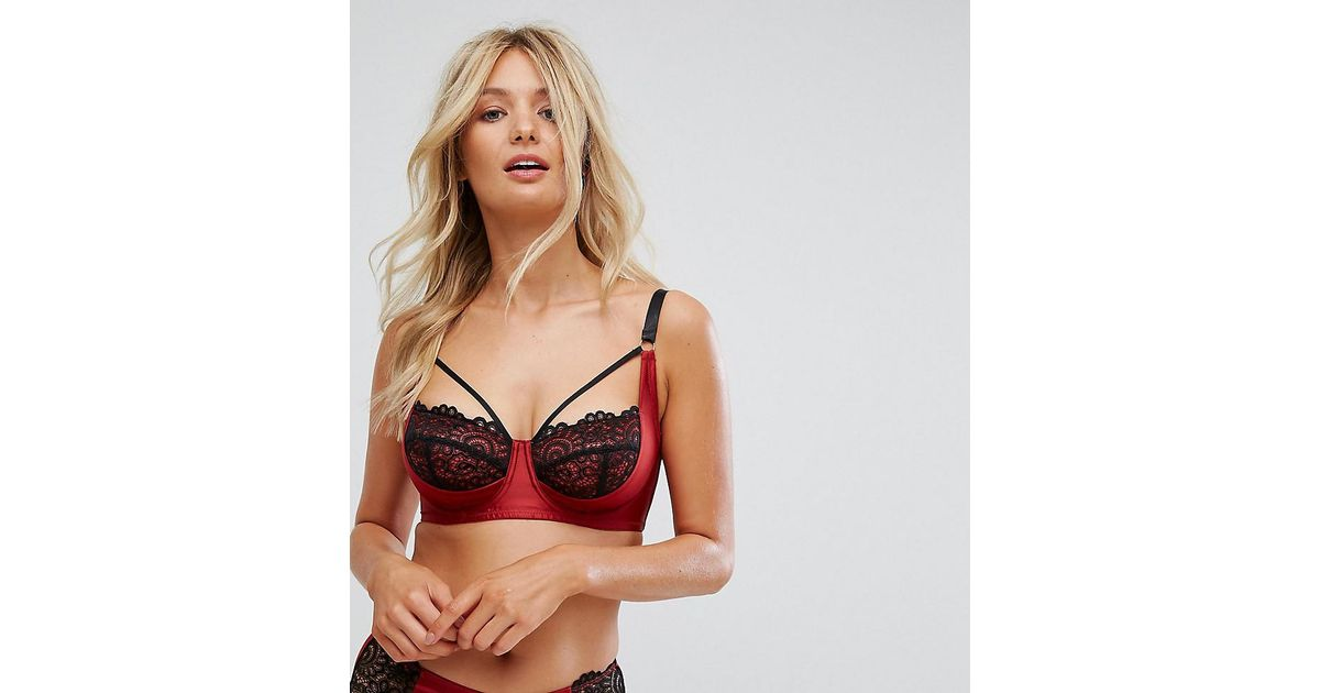 fafa955dd8 Lyst - Wolf   Whistle B-g Red And Black Lace Push Up Bra in Red