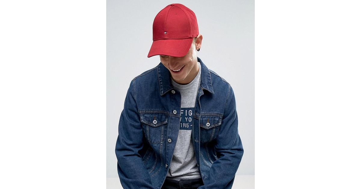 872c6e98 Tommy Hilfiger Classic Flag Baseball Cap Dark Red in Red for Men - Lyst