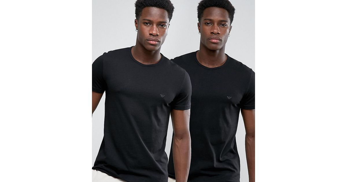1138b707 Emporio Armani Cotton Crew Neck T-shirts 2 Pack In Regular Fit in Black for  Men - Lyst