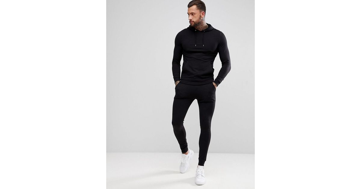 07324a764b90 Lyst - ASOS Tracksuit Muscle Hoodie extreme Super Skinny Sweatpants In  Black in Black for Men - Save 22%