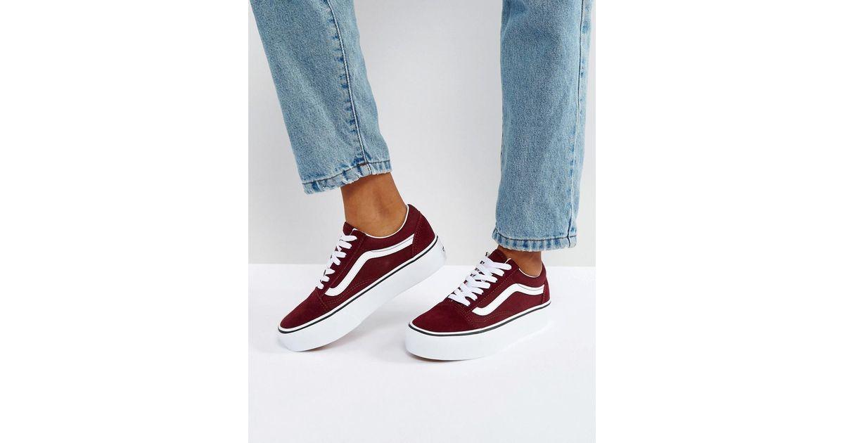 Vans Old Skool Platform Sneakers In Burgundy in Red - Lyst 64a283aca6