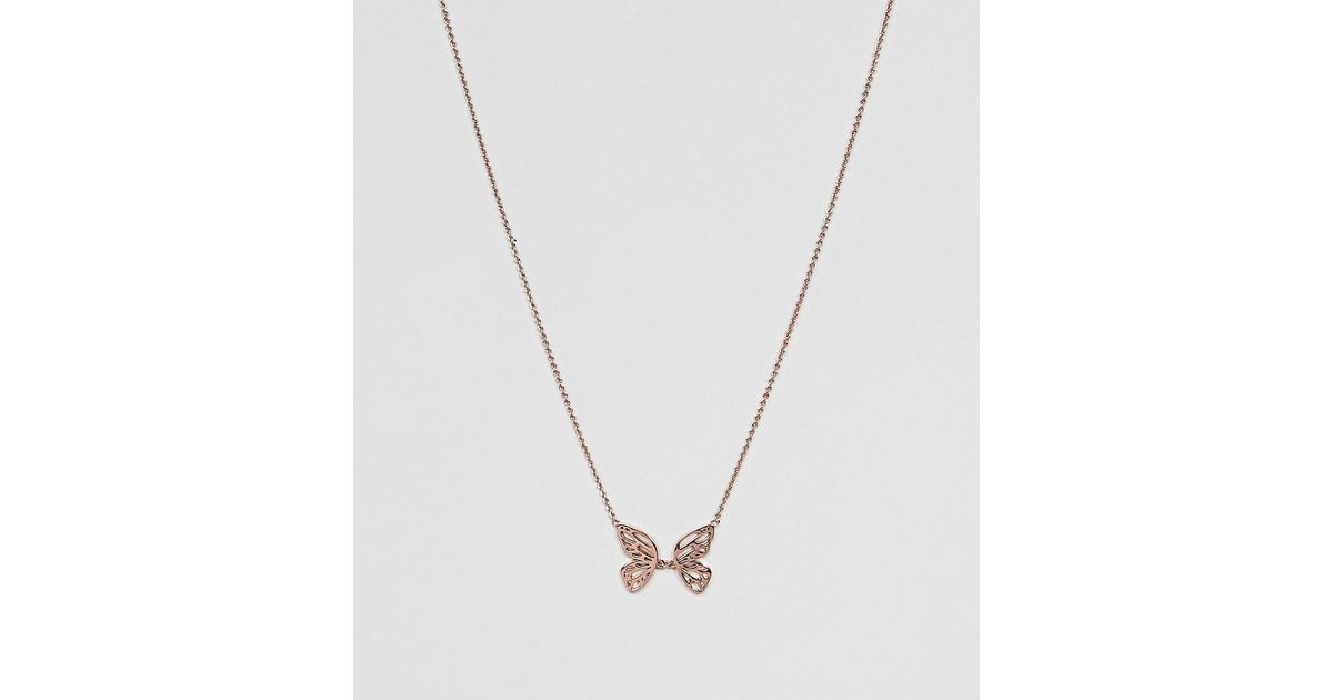 e4c34def50f5 Lyst - Olivia Burton 18k Rose Gold Plated Butterfly Necklace in Metallic
