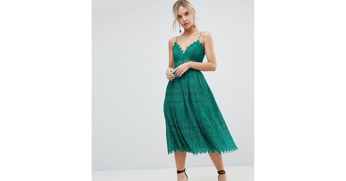 Lyst Asos Lace Cami Midi Prom Dress In Green