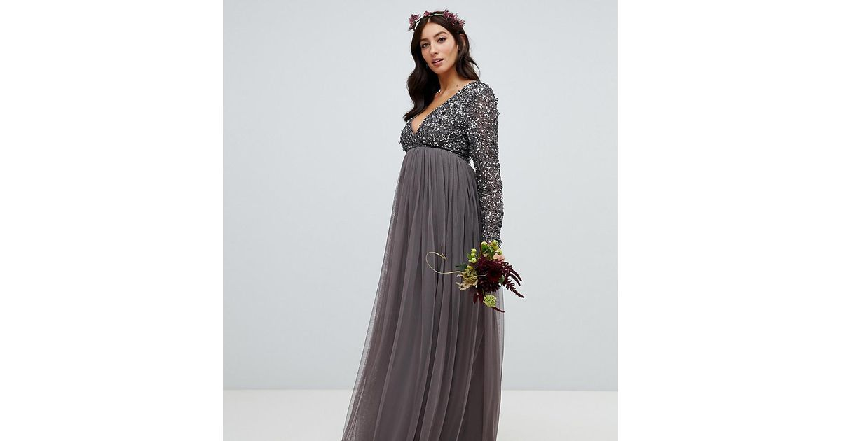 bdfe528619bb5 Maya Maternity Long Sleeve Wrap Front Maxi Dress With Delicate Sequin And Tulle  Skirt In Charcoal in Gray - Save 5% - Lyst