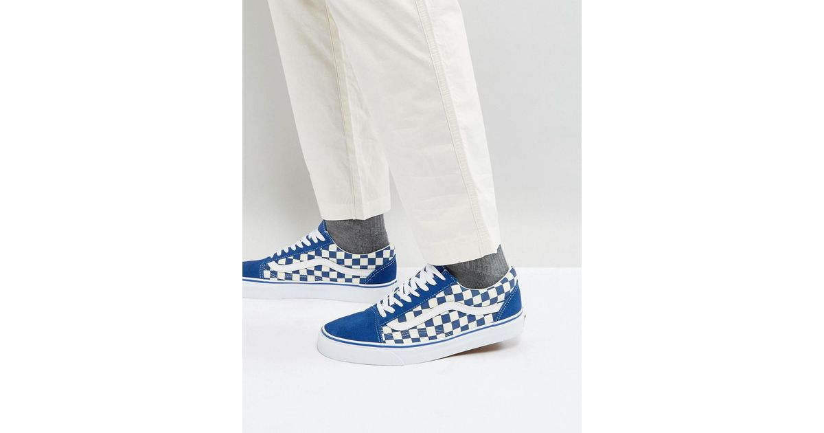 b3d3ac54318 Vans Old Skool Checkerboard Trainers In Blue Va38g1p0u in Blue for Men -  Lyst
