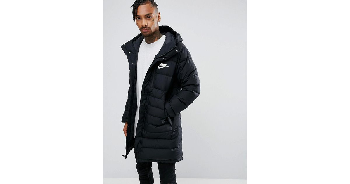 7de66612af38 Nike Down Filled Parka Jacket In Black 807393-011 in Black for Men - Lyst