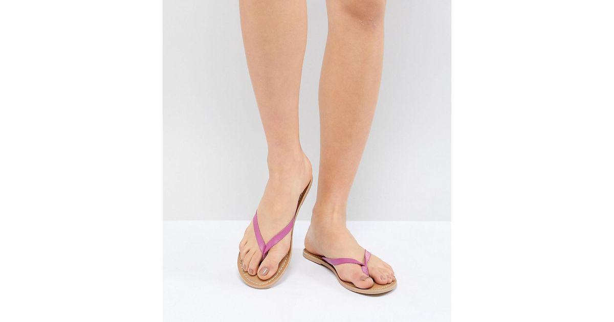 fe5d6fbd6f751b London Rebel Leather Flat Sandals in Pink - Lyst