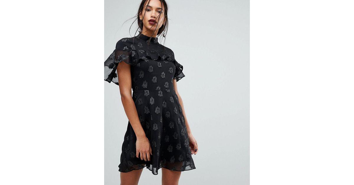 Lyst Warehouse Ruffle Detail Glitter A Line Dress In Black