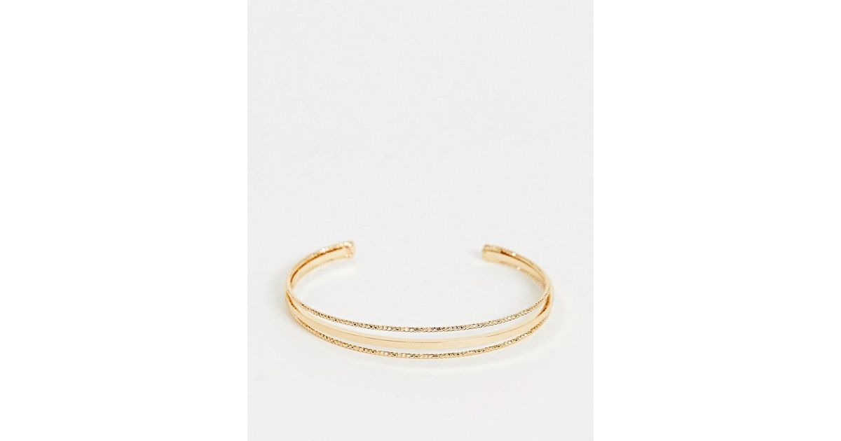 1150786af ASOS Cuff Bracelet In Split Design With Smooth And Engraved Bar In Gold in  Metallic - Lyst