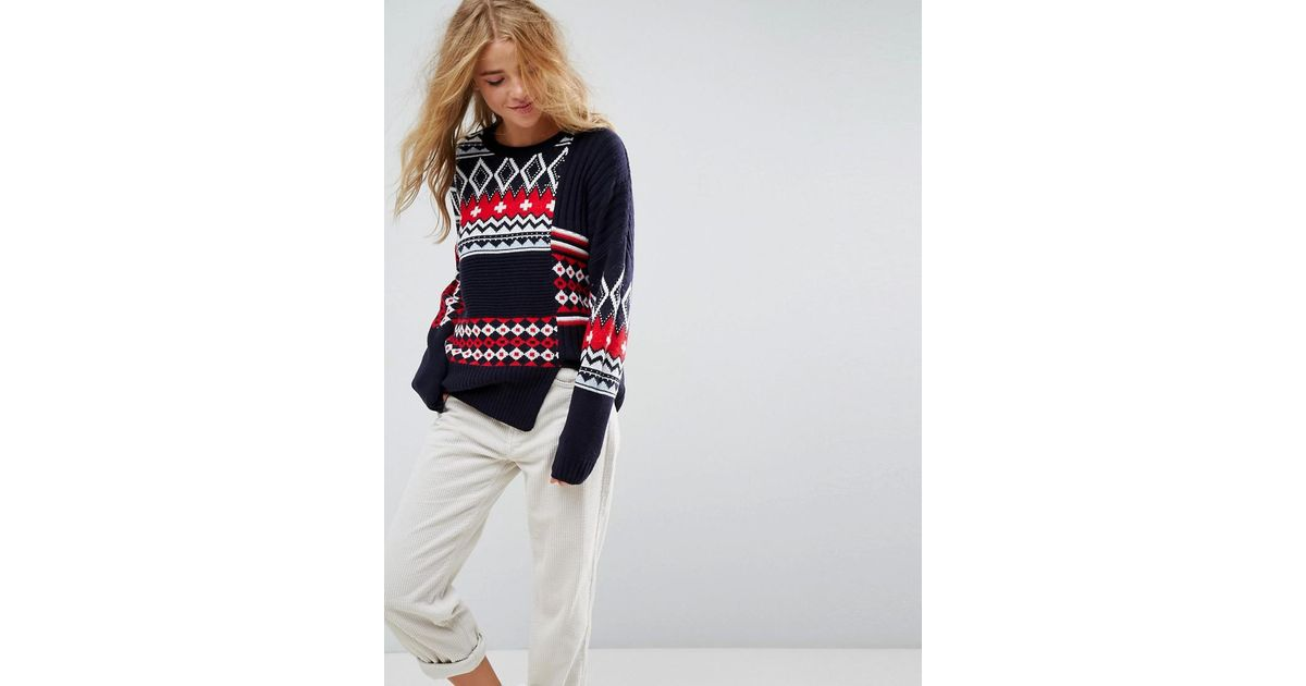 Lyst - Asos Holidays Sweater In Patchwork Fairisle in Blue