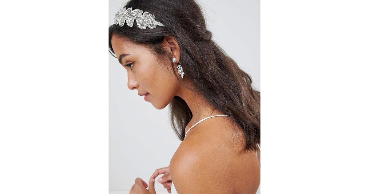DESIGN Bridal Beaded Jewel Vine Headband - Silver Asos g2H1sJW6