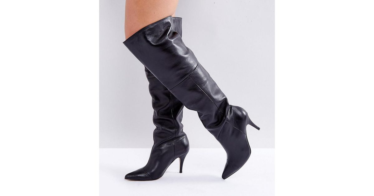 2fce1a7071c Lyst - ASOS Klara Wide Fit Leather Slouch Over The Knee Boots in Black