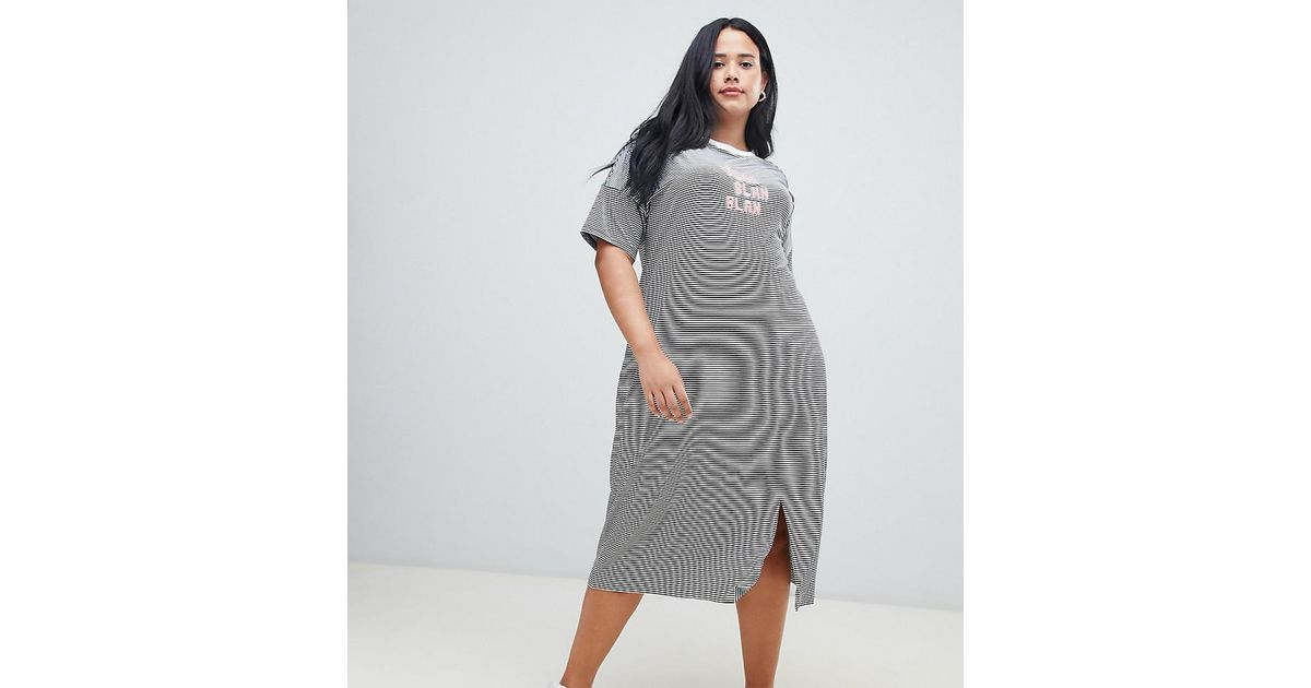a0d2e7d5340 ASOS Asos Design Curve Blah Stripe Midi T-shirt Dress in Gray - Lyst