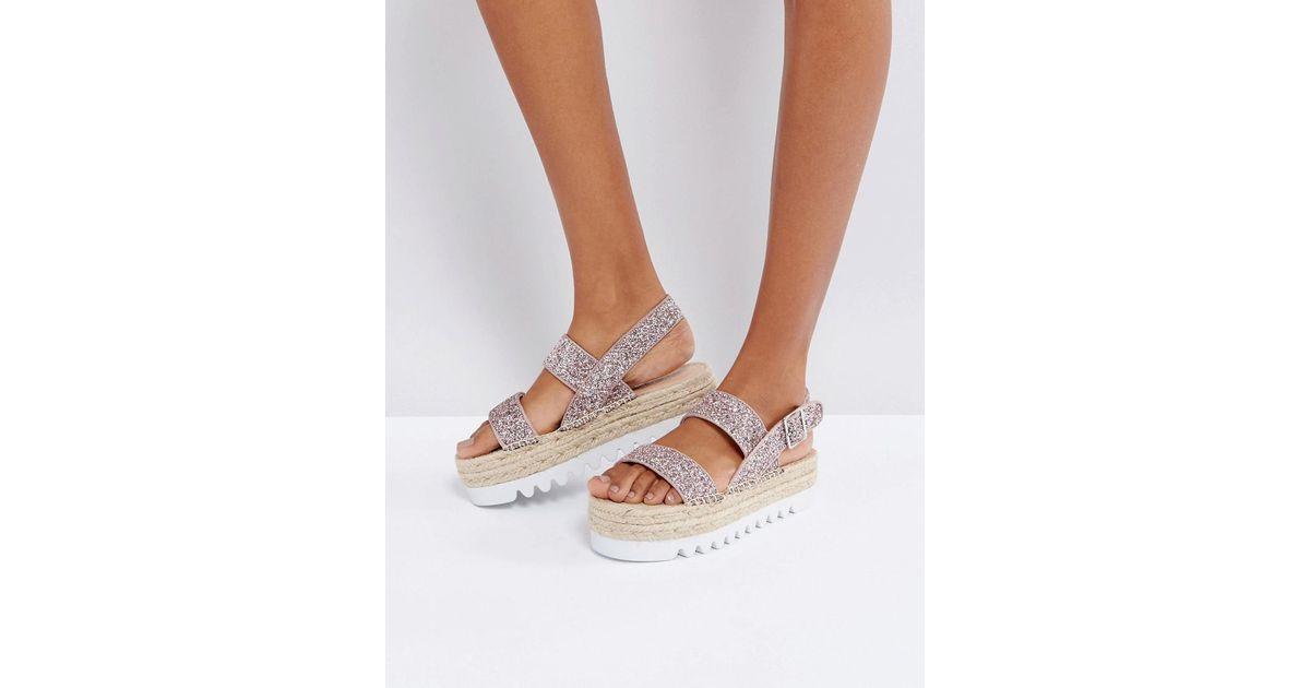 541b71958fb Lyst - Bershka Glitter Espadrille Flatform Sandal in Metallic