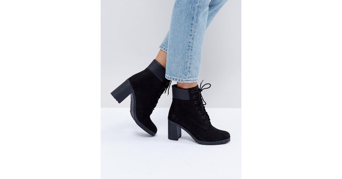 3d7d88ccf25 Lyst - Timberland Allington Black Nubuck Heeled Ankle Boots in Black
