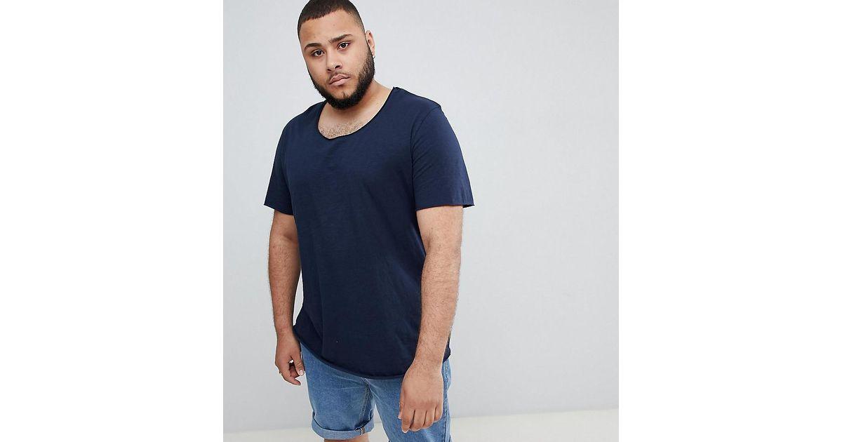 0e40a3d2 Jack & Jones Essentials Plus Size Longline T-shirt With Raw Neck in Blue  for Men - Lyst