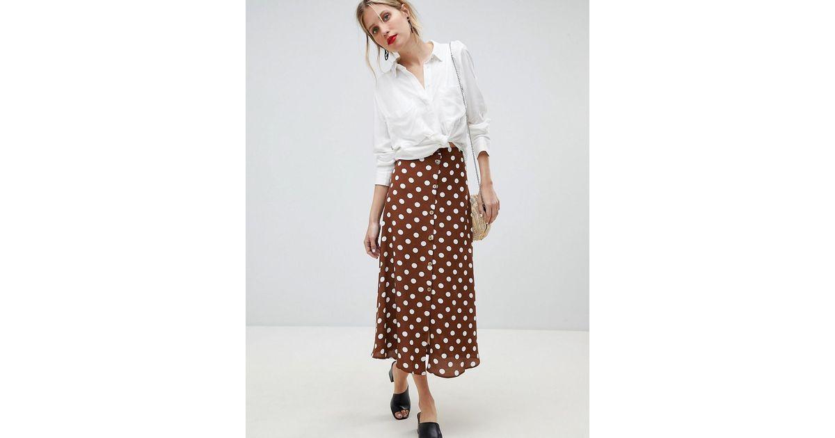 Mango Polka Dot Midi Skirt in Brown - Lyst 08d27981a