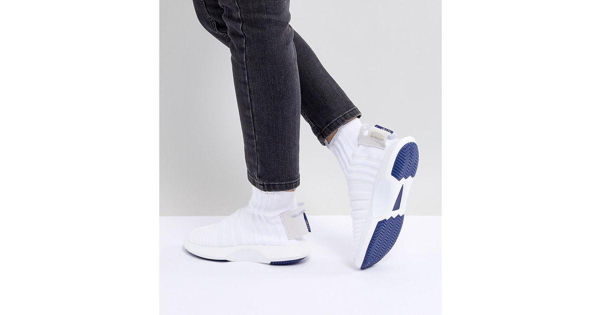 new style 6e9df 1bd12 adidas Originals Crazy 1 Adv Sock Primeknit Trainers In White in White -  Lyst