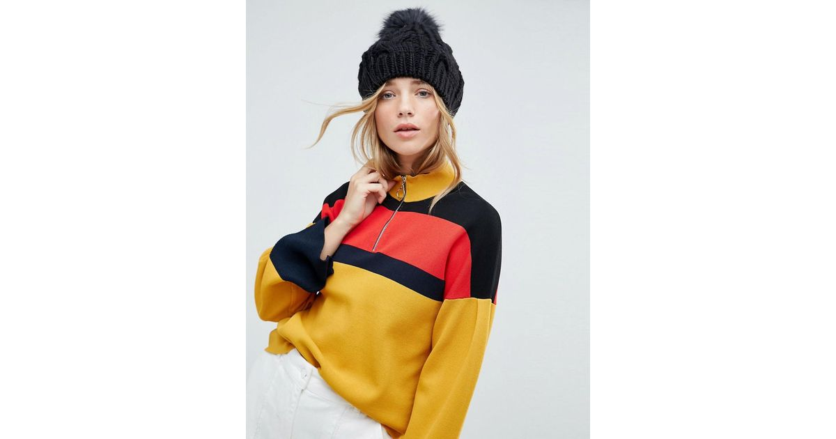 d814584cedb Lyst - New Look Faux Fur Pom Bobble Hat in Black