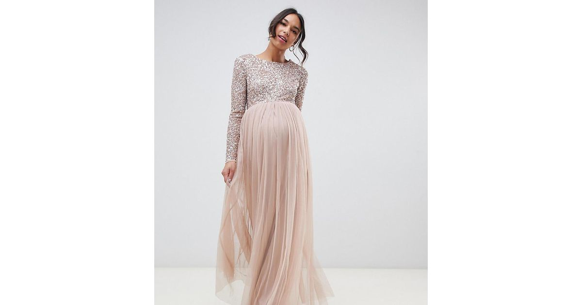 4e0bea18 Maya Maternity Bridesmaid Long Sleeved Maxi Dress With Delicate Sequin And Tulle  Skirt In Taupe Blush in Brown - Lyst