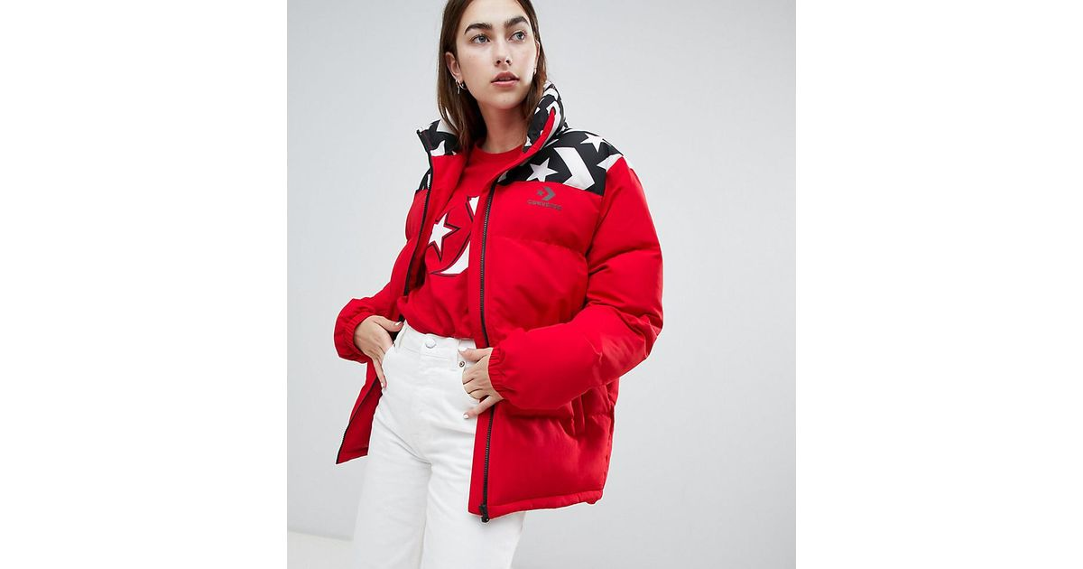 8f783036d5e Converse Oversized Exclusive Red Padded Jacket in Red - Lyst