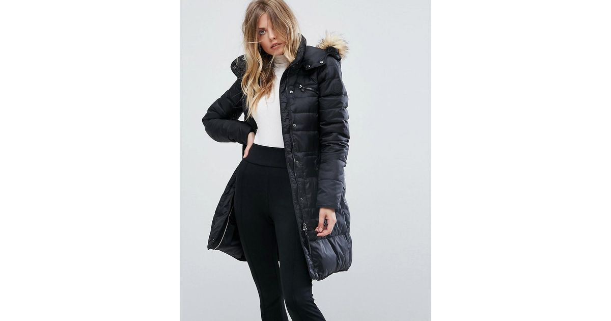 Lyst Vero Moda Down Padded Jacket With Faux Fur Collar In Black
