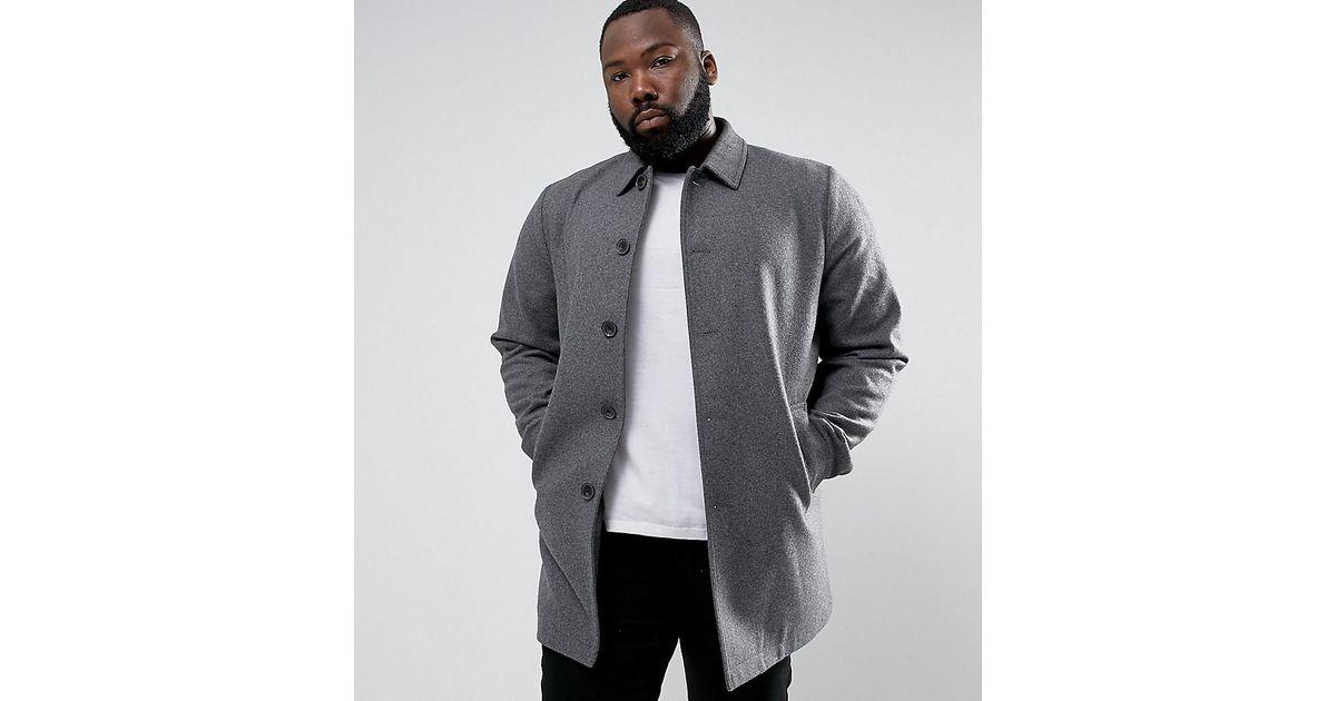 e283789b8eba Lyst - ASOS Asos Plus Wool Mix Trench Coat In Light Gray in Gray for Men