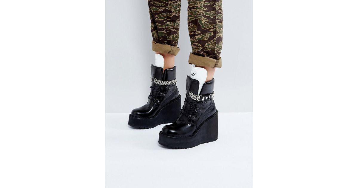 f730d625731 Lyst - PUMA X Fenty By Rihanna Sb Wedge Boot in Black